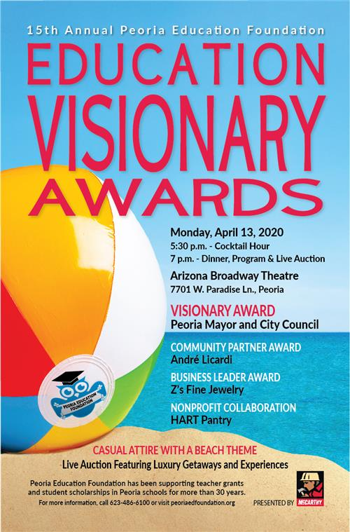 Photo of a beach ball. For how you can attend the Visionary Awards call 623-486-6100.