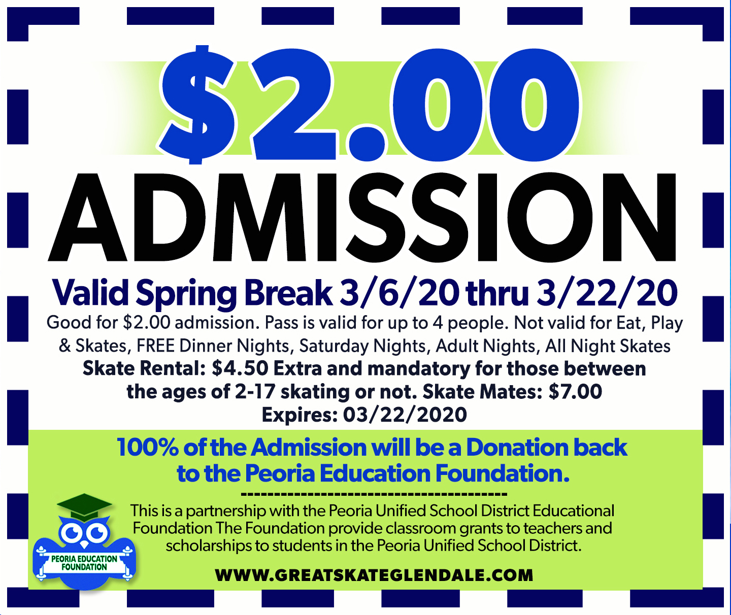 Great Skate $2.00 Admission.
