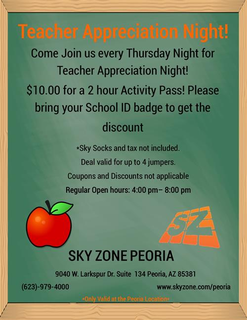 Teachers can jump for $10.00 at Sky Zone Peoria
